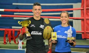 Marcos Alves e Julia Alves, lutadores de kickboxing do Centro Esportivo MR/Selam
